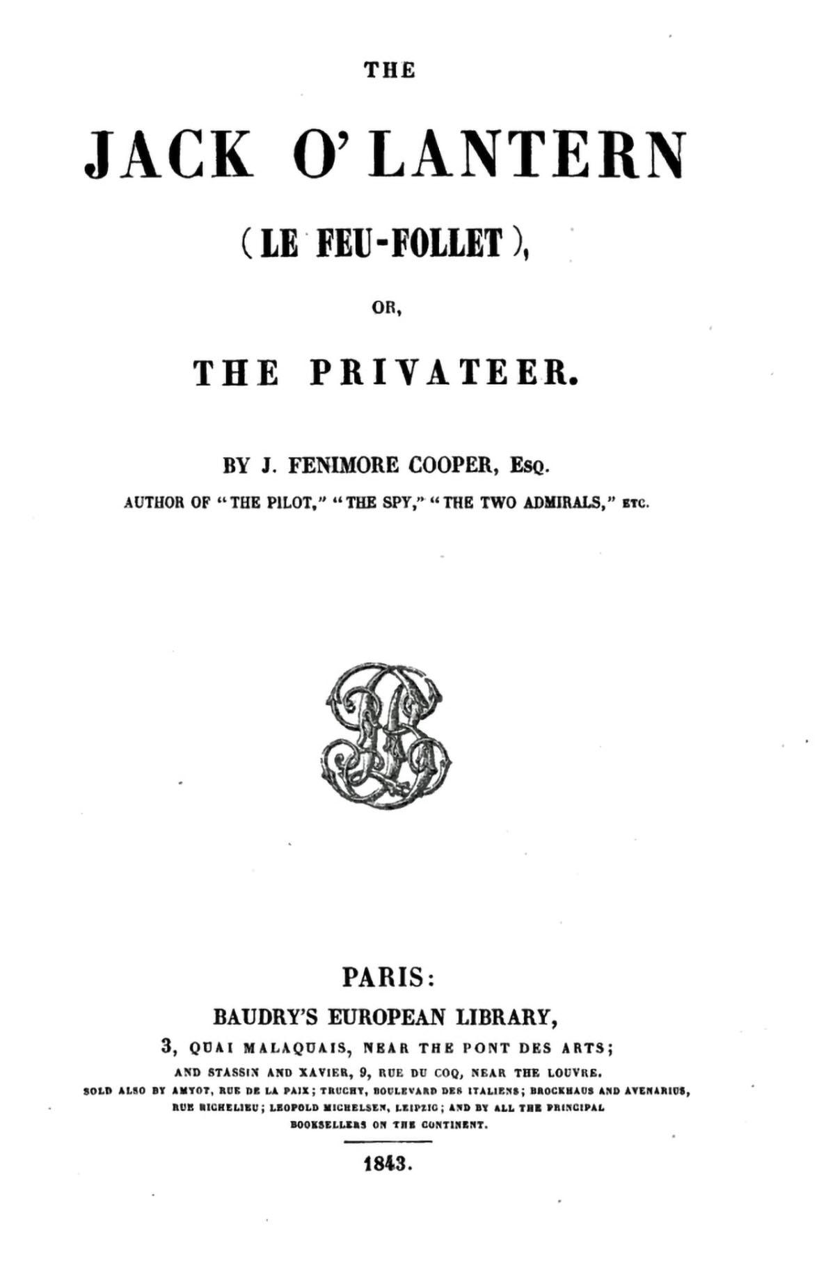 Jack 'O Lantern, Paris 1843