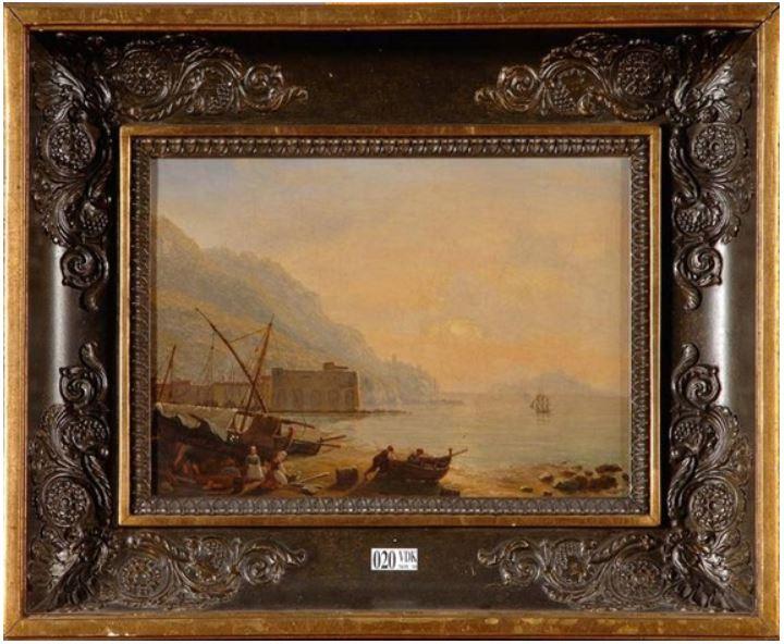 François Gilles Joseph Closson, Baie animée au coucher du soleil, 1834